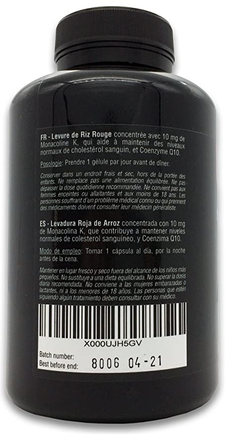 Levadura Roja de Arroz concentrada con 10 mg de Monacolina K y Coenzima Q10, 180 Cápsulas | Controla los niveles de colesterol sanguíneo | 100% Vegano, ...