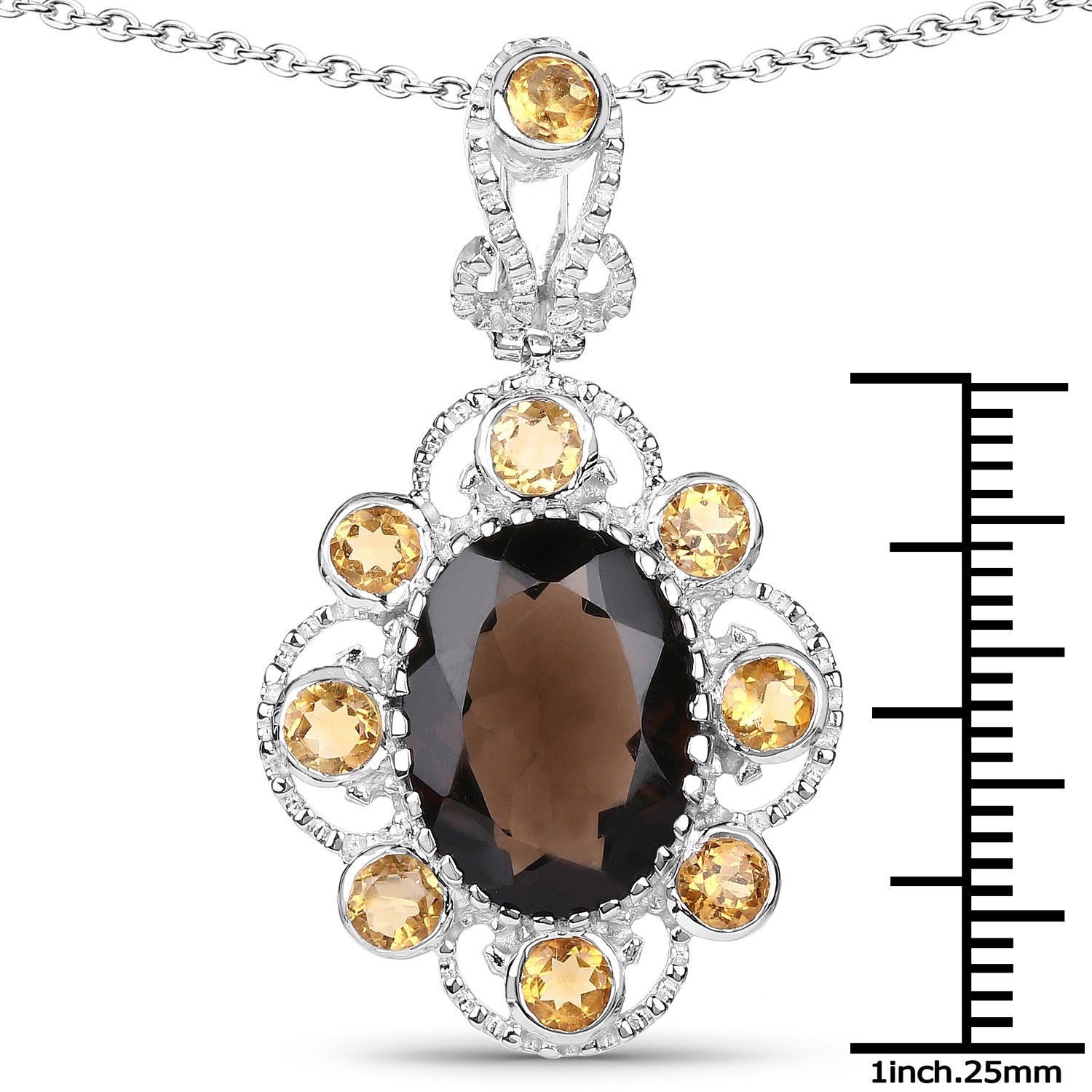 7.47 Carat Genuine Smoky Quartz and Citrine .925 Sterling Silver Pendant