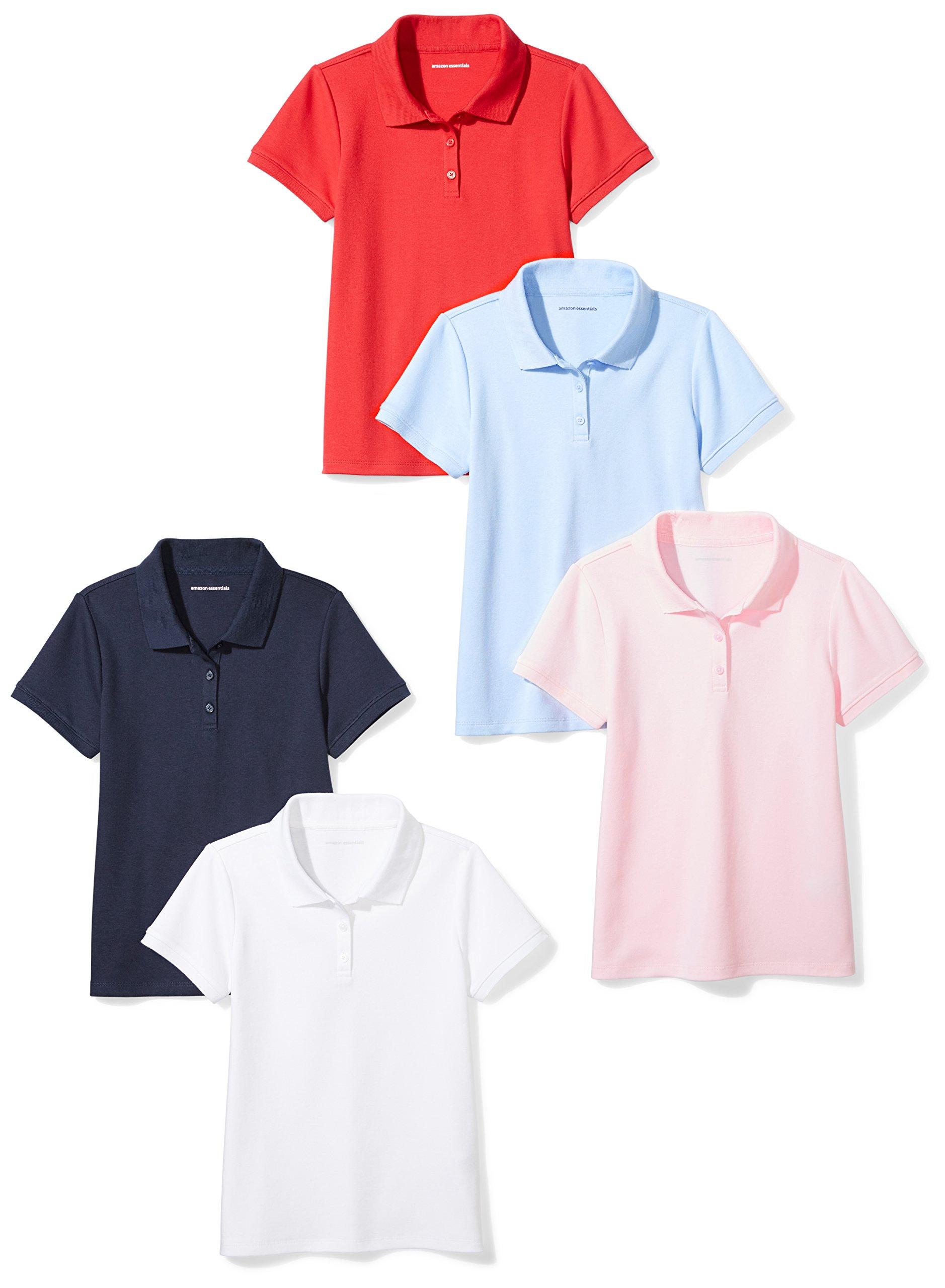 Amazon Essentials Girls' 5-Pack Short-Sleeve Uniform Interlock Polo, Multi Pack, XL (12)