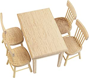 AUEAR, 5 Pack 1 12 Dollhouse Miniature Dining Table Chair Wooden Furniture Accessories Doll Furniture Set