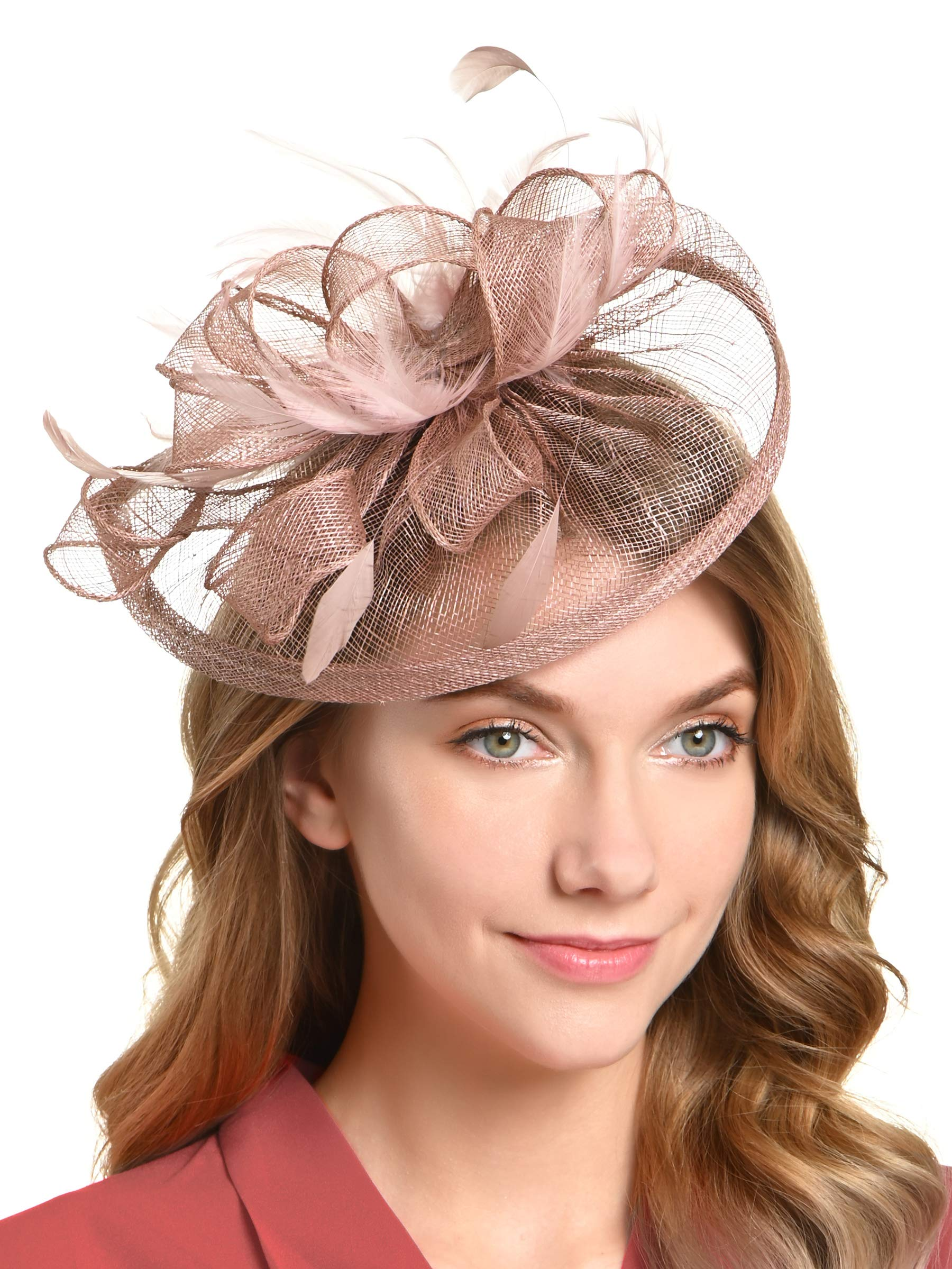 Fascinators Hat for Women Kentucky Derby Headband Wedding Mesh Feathers Tea Party Hair Clip (1-Blush Pink)