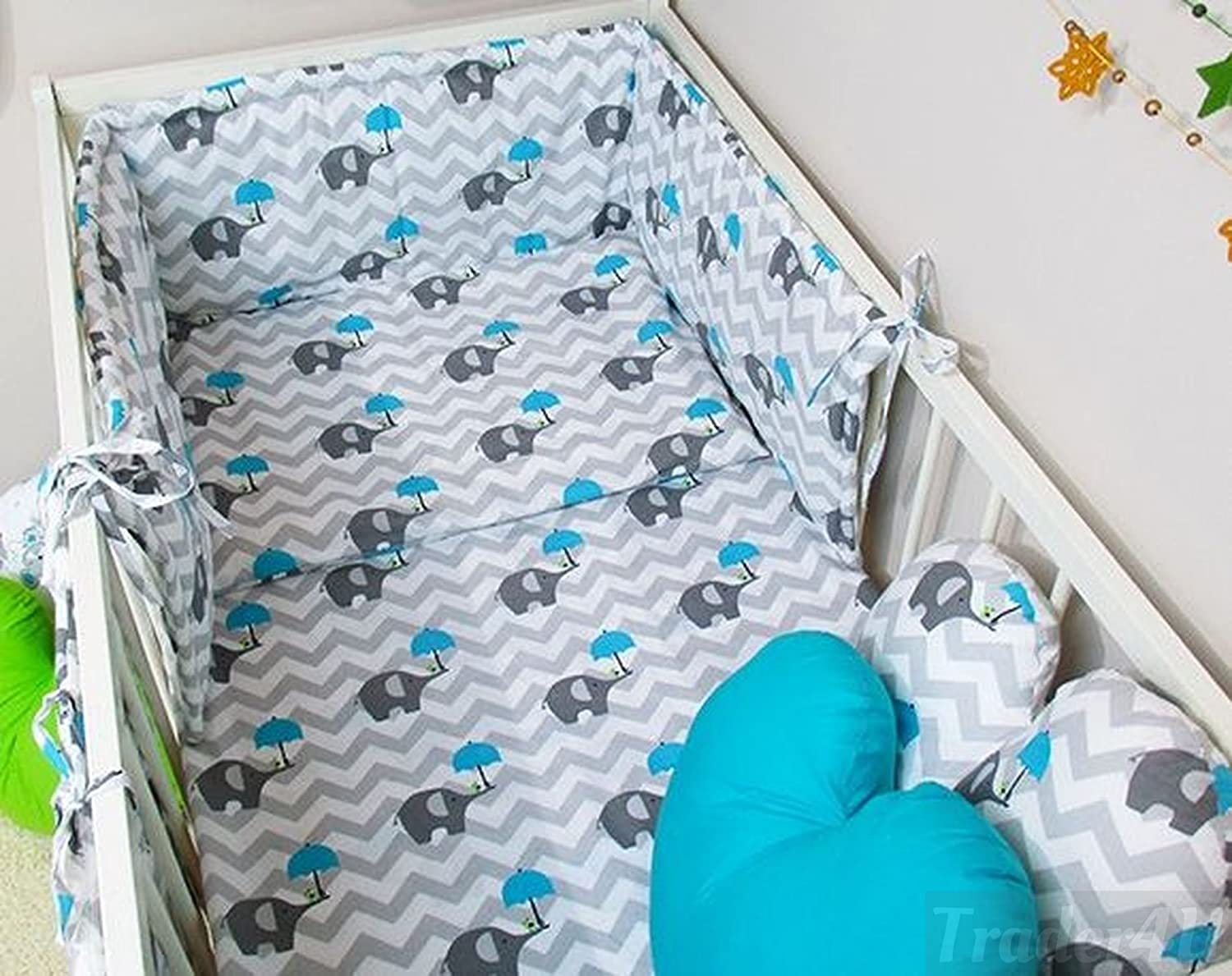 MillaLu 5 Pcs Baby Nursery Bedding Set fit to Cot 120x60cm or Cot Bed 140x70cm Padded Bumper Fit to Cot Bed 140x70 cm, Navy Stars on White