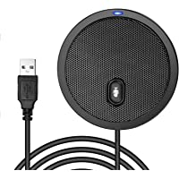 USB Conference Microphone for Computer, 360° Omnidirectional Boundary Condenser PC Microphones with Mute, Plug & Play…