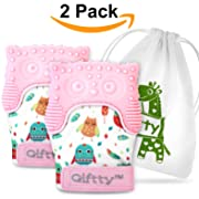 Two Baby Teething Mittens by Giftty, Soothing Teether Mitt & Teething Pain Relief Toy, Prevent Scratches Glove, Cute Animal Owl Collection, Unisex for 0-9 Months Baby (2-Mittens, 1 Travel Bag, Pink)?