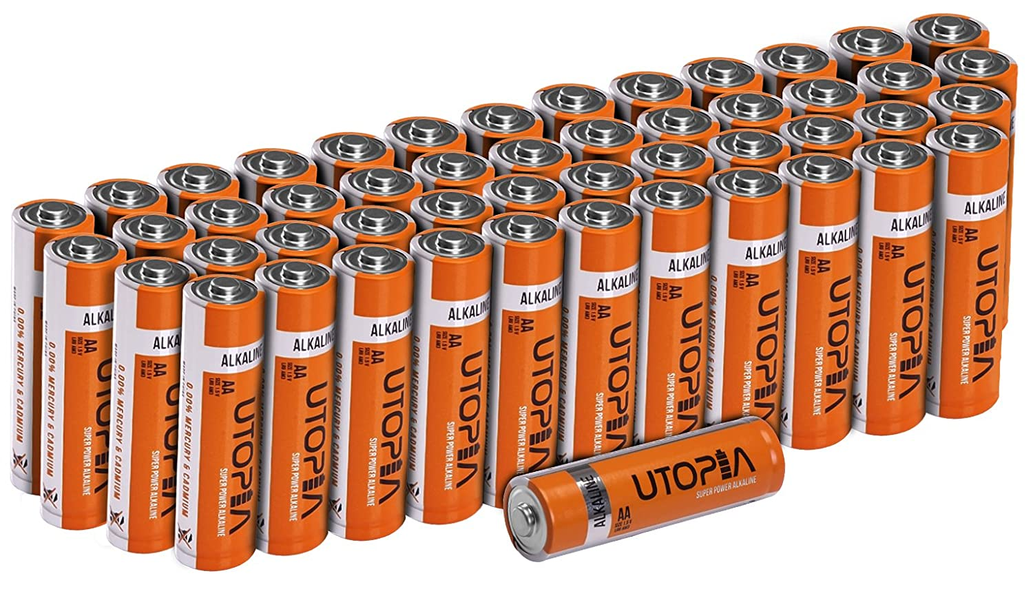 Utopia Home AA Alkali Battery (Pack of 50) - Long Lasting Performance - Perfect for Daily Use