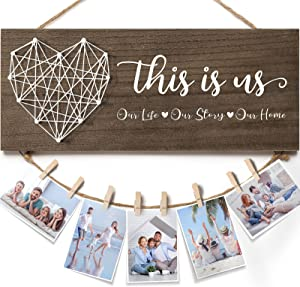 Housewarming Gifts New Home Wall Decor Sign, This Is Us Family Picture Frame Rustic Farmhouse Wood Hanging Photo Holder, Gifts for Housewarming New Homeowners or Couples, Birthday Gifts for Women