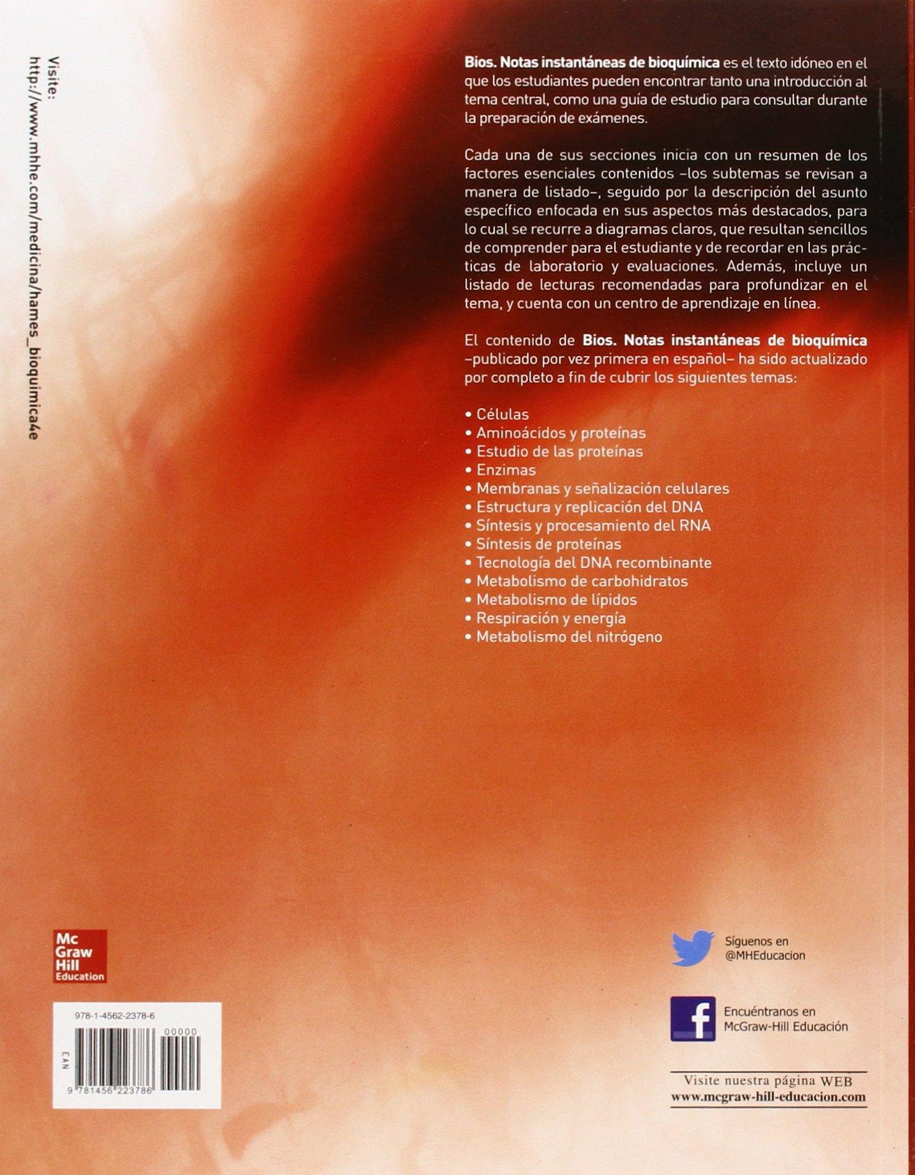 BIOS. NOTAS INSTANTANEAS DE BIOQUIMICA: Amazon.es: Hames ...