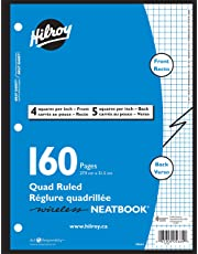 Hilroy 05664 Wireless Quad Ruled Neatbook, 11x8.5-Inch, 3 Hole Punched, 4/1 inch and 5/1 inch pages, 80 sheets (160 pages)