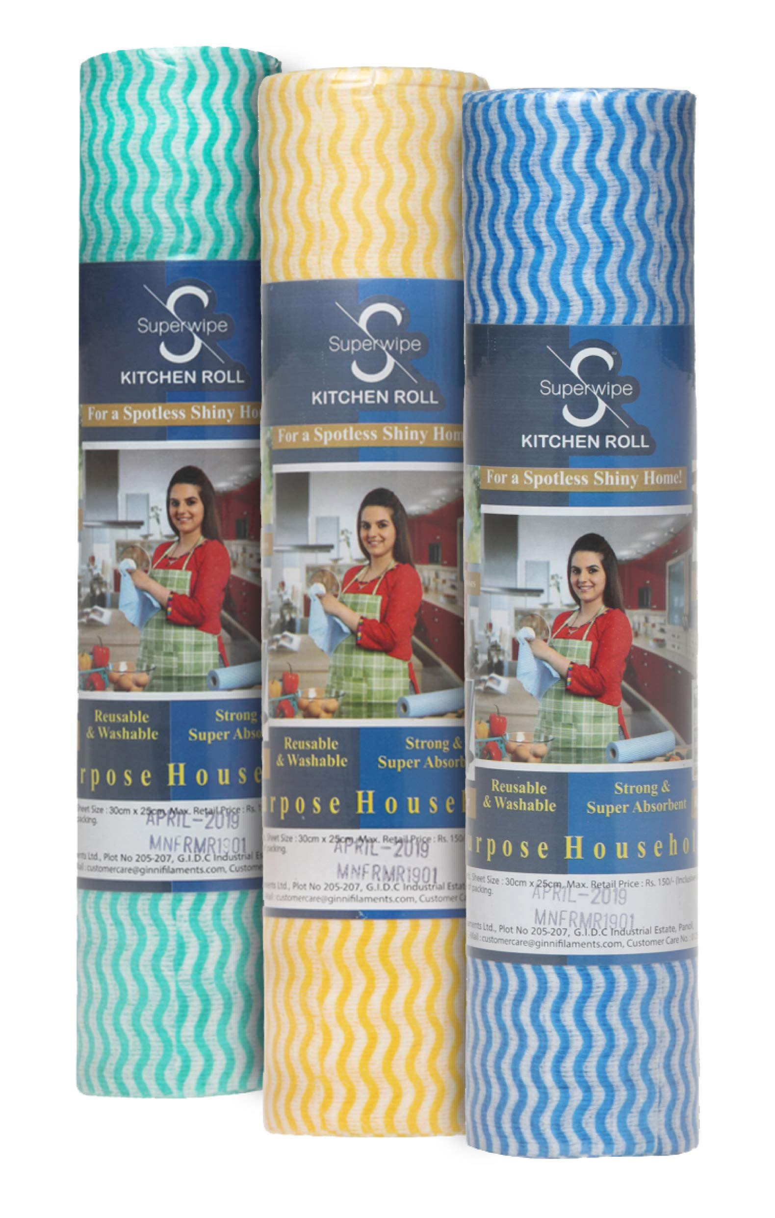 Ginni Kitchen Swipe Rolls Non Woven Fabric 30 X 25 cm Kitchen Tissue/Towel Tissue Roll Reusable & Washable (Multi-Purpose Household Sheets) - 3 Rolls (50 Pulls Per Roll) product image