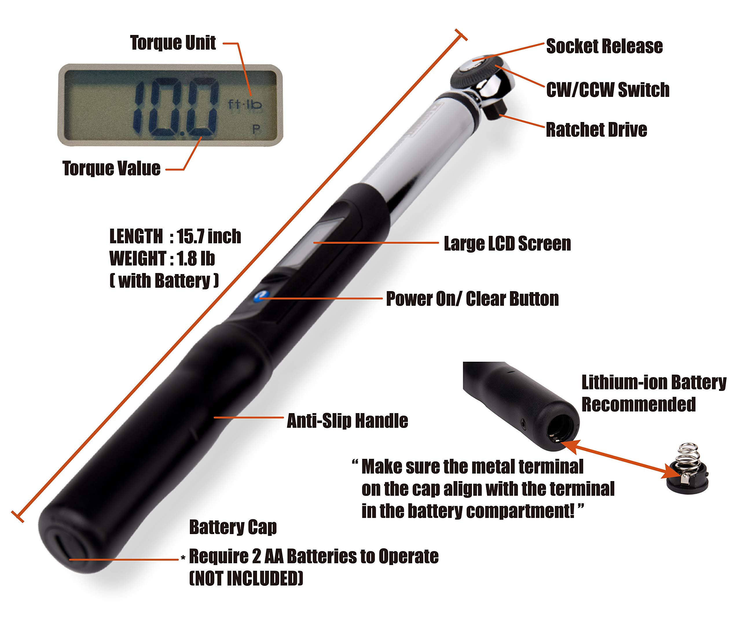 Summit Tools Digital Torque Wrench with 3/8-inch Square Driver and 5-99.5 ft-lbs Torque Range, 0.1 ft-lb Resolution, ±3% Tolerance, Peak Hold Feature, Certificate of Calibration (ES3-135CN) by Summit Tools (Image #3)