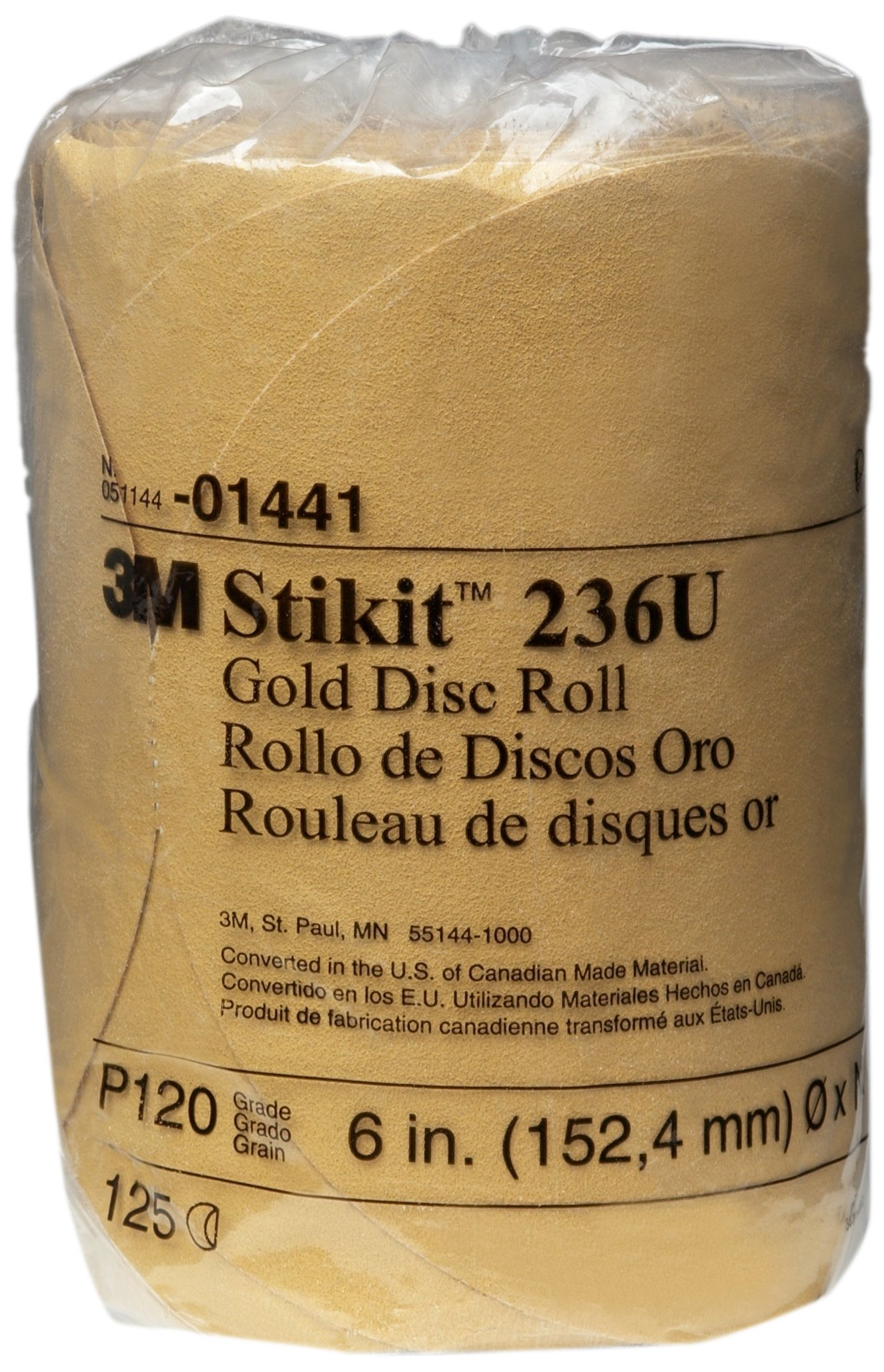 3M 01441 Stikit Gold 6'' P120A Grit Disc Roll
