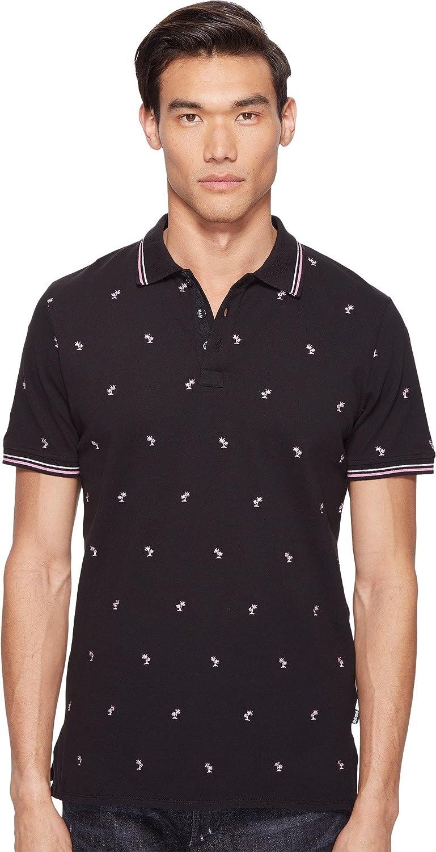 New Mens Short Sleeve Polo Shirt Slim Fit Black Burgundy Polka Dot White Stretch