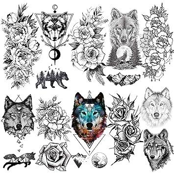 LAROI 10 Hojas Lobo Rey Adultos Tatuajes Temporales Mujer ...