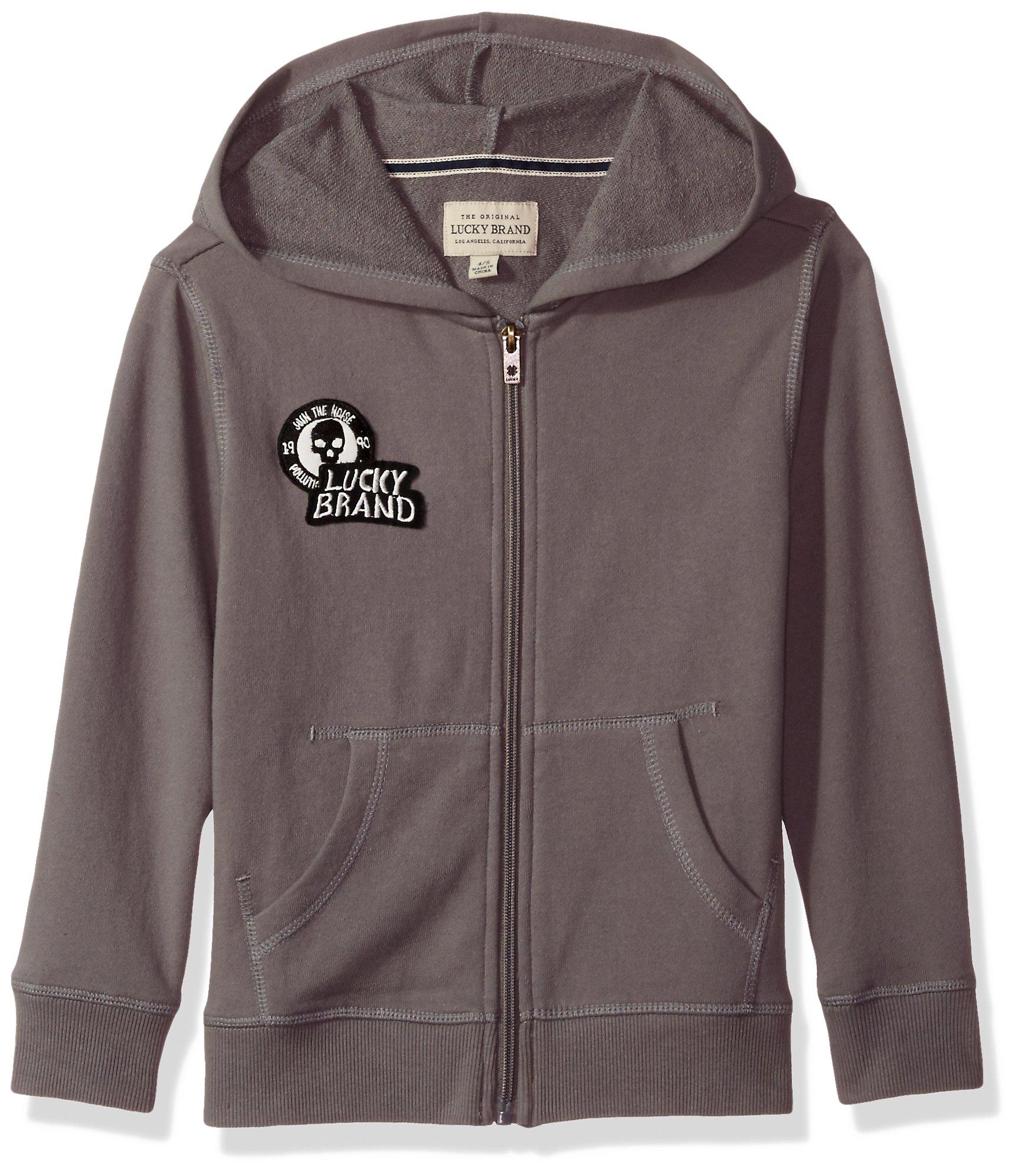 Lucky Brand Little Boys' Long Sleeve Zip up Hoody, Steel Grey, 6