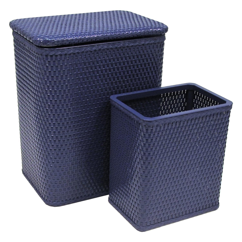 RedmonUSA Chelsea Wicker Nursery Hamper and Matching Wastebasket Coastal Blue