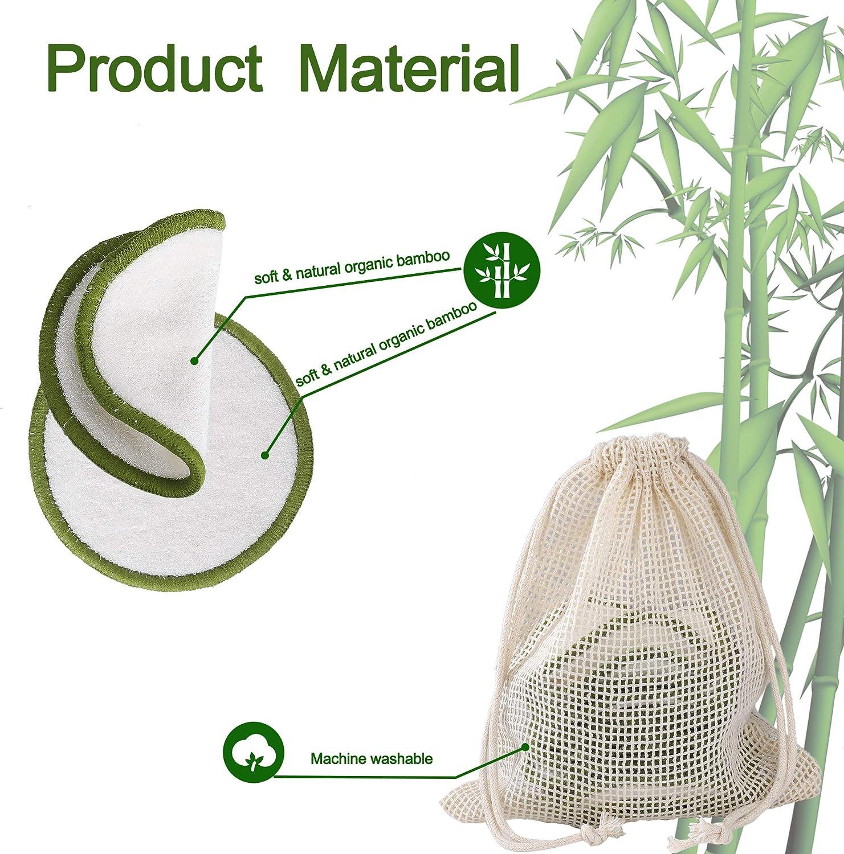 Almohadillas Desmaquillantes Lavables Reutilizables Almohadillas de Algod/ón de Bamb/ú con Bolsa de Lavado para Todas las Pieles 16 Piezas