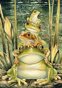 Toland Home Garden 1112315 Tower of Frogs 12.5 x 18 Inch Decorative, Pond Lily Pad, Garden Flag