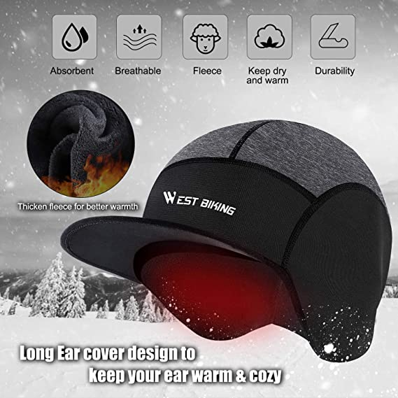 Cycling Cap Helmet Liner with Ear Flaps Windproof Head Cover for Men