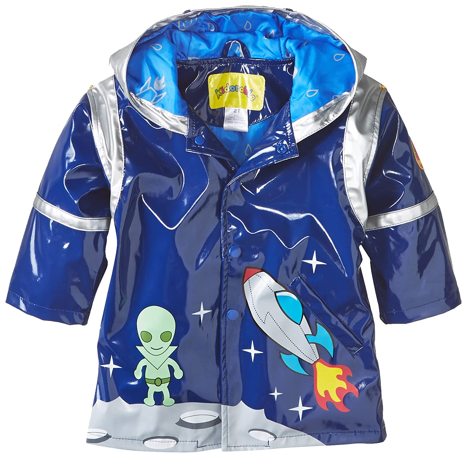 Kidorable Blue Space Hero All-Weather Raincoat for Boys w/Fun Spaceship Pocket, Astronaut Helmet 397188