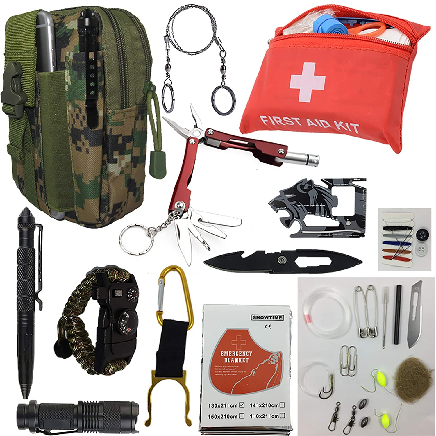 50+ in 1 Emergency Survival Gear & First Aid kit; Include all Essential and cool tools those use for Camping Biking Hunting Outdoor SOS Birthday Gift, All (Men, Women, Boys & Girls) need this cool kit [並行輸入品] B07R4VZY2D