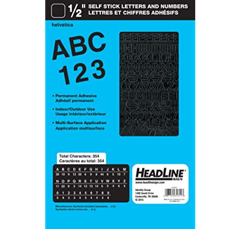 Amazon Com Headline Sign 31741 Stick On Vinyl Letters And Numbers Black 1 4 Inch Business And Store Signs Office Products