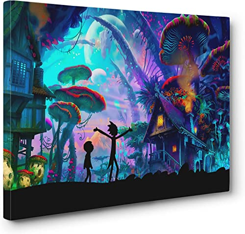 Mushroom World Wall Art Gallery Wrapped Canvas Print 24x36in. Large
