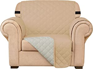 Subrtex Sofa Slipcover Reversible Chair Cover Quilted Couch Cover Furniture Protector with Elastic Straps in Living Room Washable Slip Cover for Pets Kids Dogs (Chair, Sand)