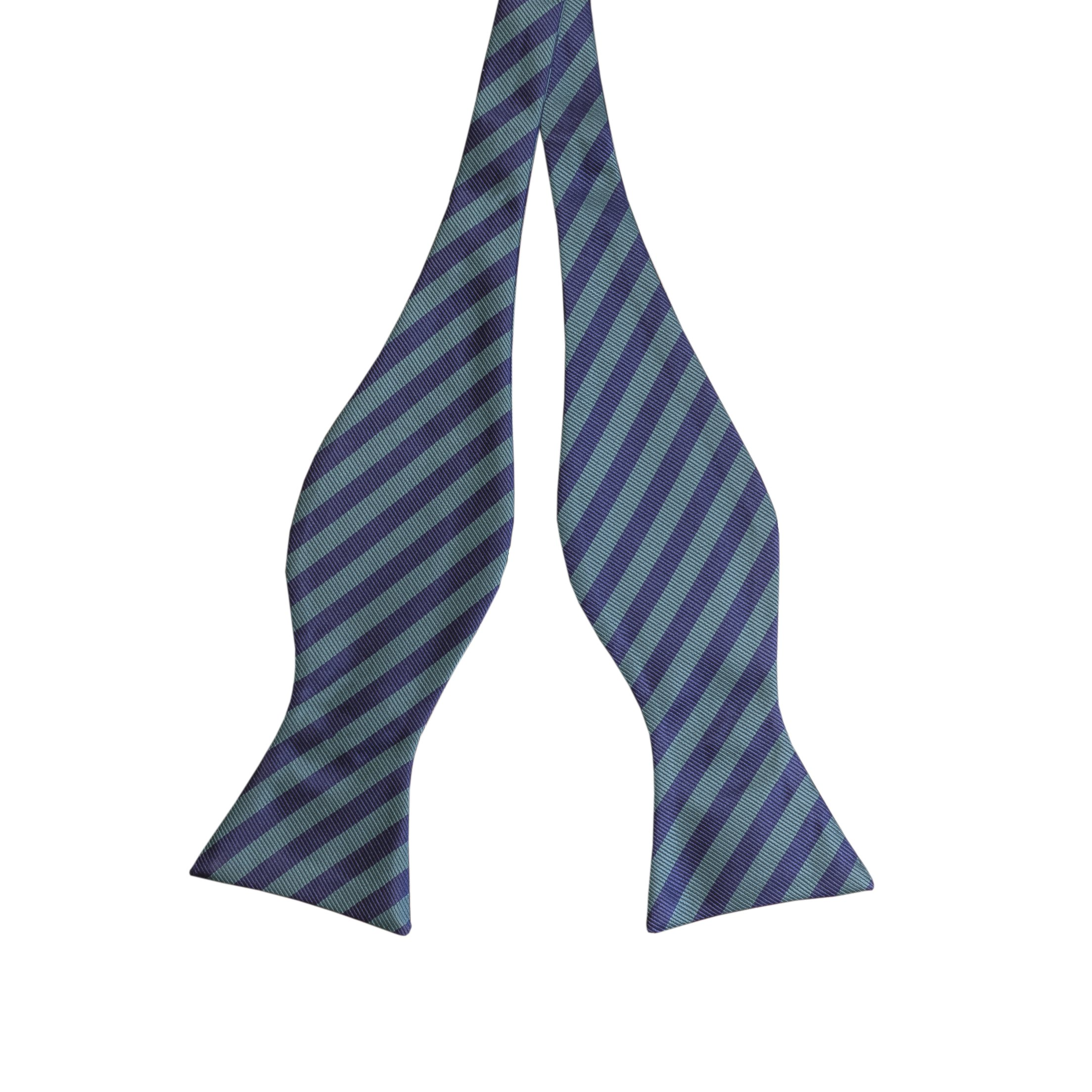 Luther Pike Self Tie Woven Striped Bow Ties For Men Tuxedo Bowtie Green & Navy Blue Bow Tie
