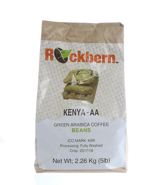 Unroasted Raw Green Coffee Beans - 5LB, Mt. Kenya AA Single Origin Gourmet Arabica Coffee Beans for Roasting Rockbern Coffee Group