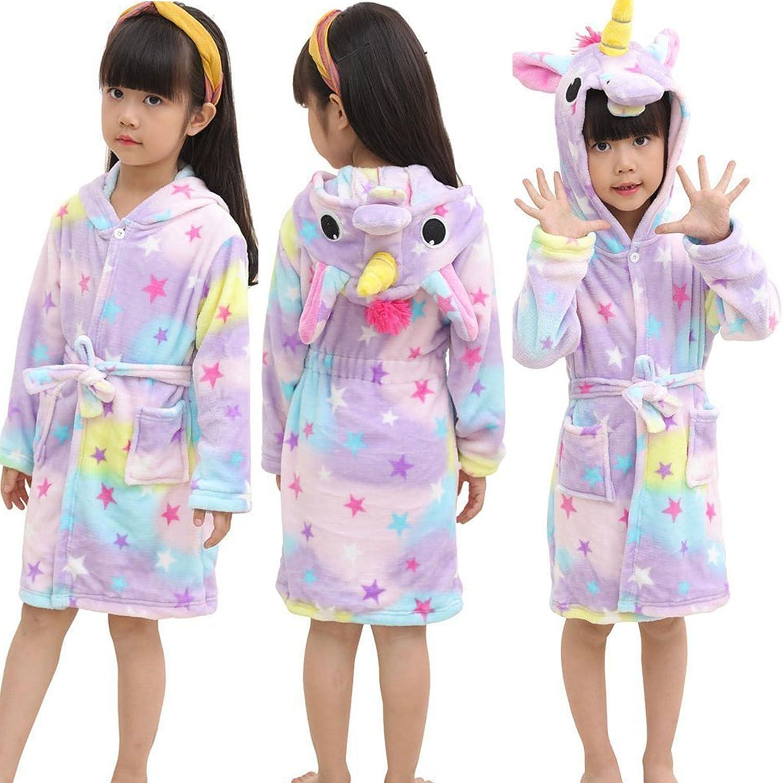 Admireme Kid's Hooded Bathrobe Coral Fleece Sleepwear Comfy Sleep Robe