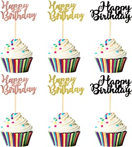 Unimall 36Pcs Happy Birthday Cupcake Topper 3 Colors Mixed Gold Rose Gold Black Glitter Birthday Cupcake Food Picks for Celebrating 16th 18th 20th 30th 40th 50th Birthday Party Decorations Supply