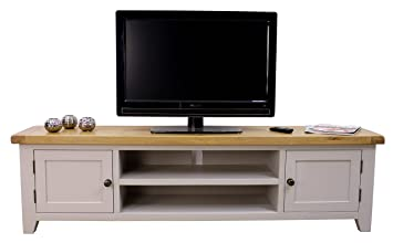 Arklow Painted Oak Dovetail Grey Extra Large TV Stand/Oak TV Cabinet/Living  Room