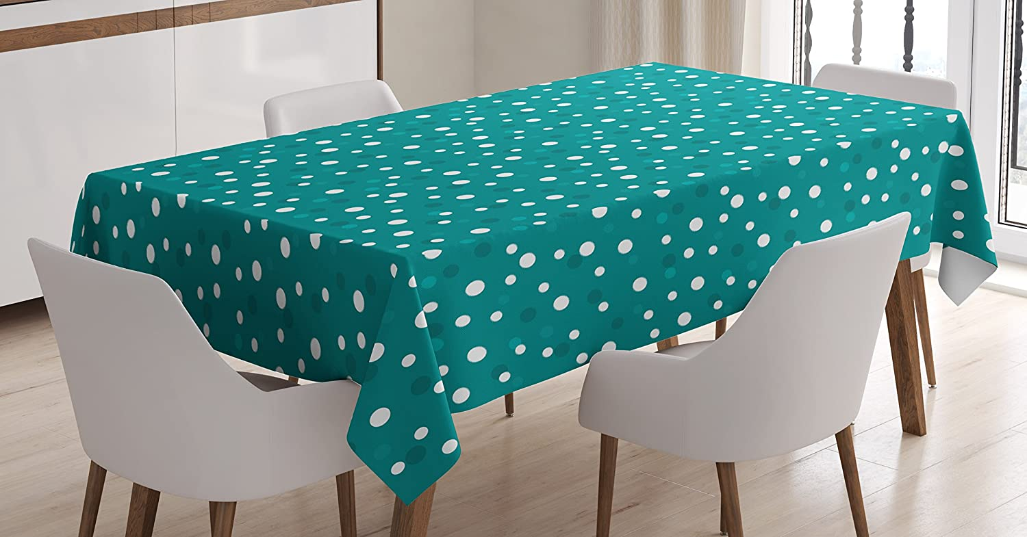 Ambesonne Retro Tablecloth, Nostalgic White Polka Dots Pattern with Little Color Droplets Oval Forms Abstract Artwork, Dining Room Kitchen Rectangular Table Cover, 60W X 84L inches, Teal