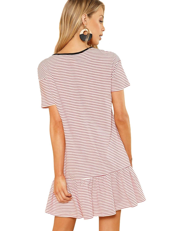 c1208098fdad Verdusa Women s Round Neck Striped Print Ruffle Hem Tunic Dress at Amazon Women s  Clothing store