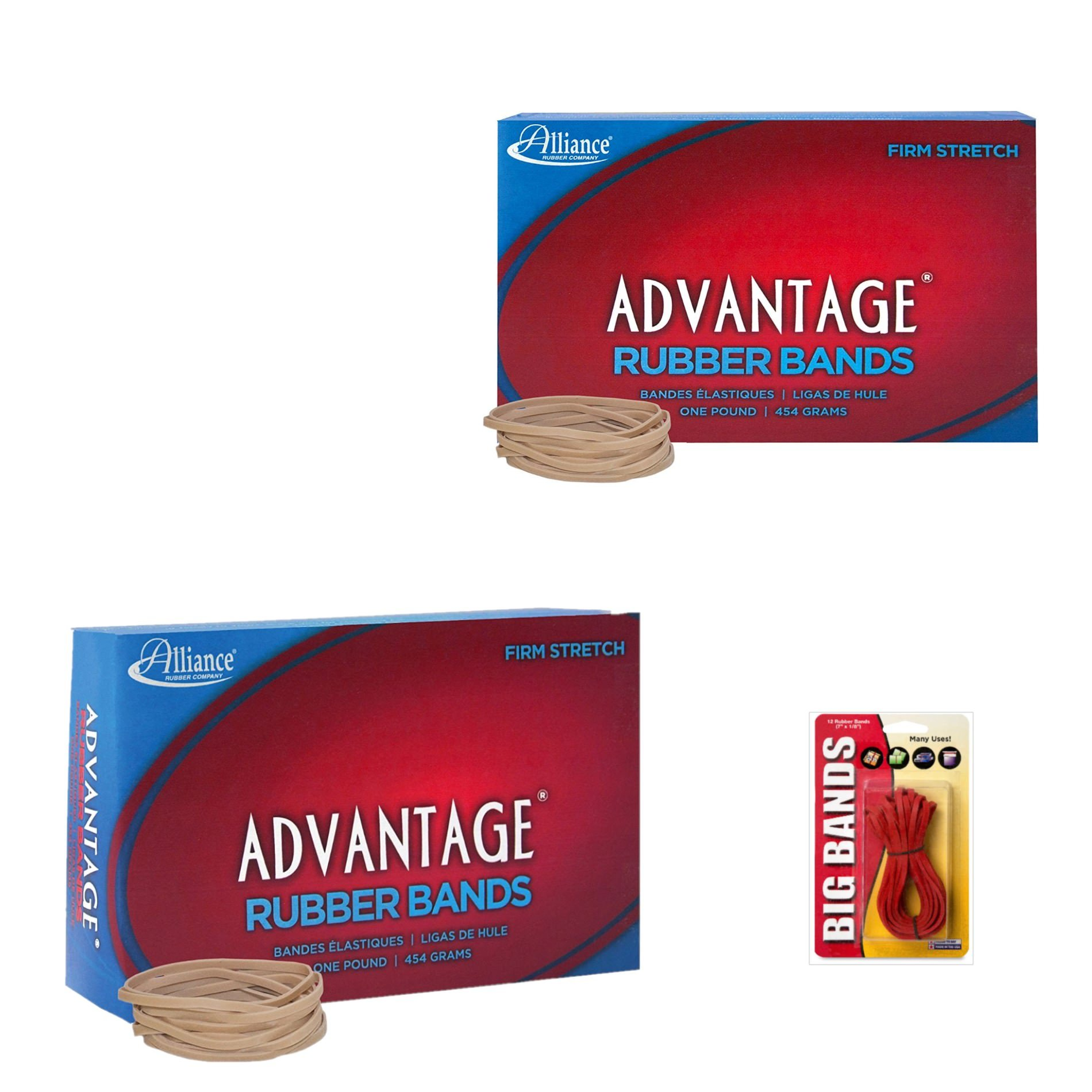 Alliance Advantage Rubber Band Size #32 (3 X 1/8 inches), 2 Pound Box (Approximately 1400 Bands per Pack) (26325) Bundle with 12 Big Rubber Bands