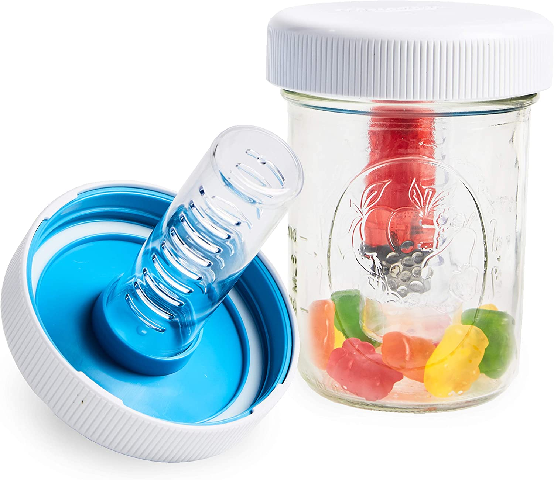 Masontops Jar Safe - Child Proof Herb Container - 2PK - Airtight Storage - Wide Mouth Jar Lock - Stash Bottle Locker