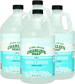 product image for Charlie's Soap Indoor & Outdoor Surface Cleaner Refill (1 Gallon, 4 Pack) Natural Outdoor Cleaning Spray – Safe for Indoor Use – Non-Toxic and Biodegradable