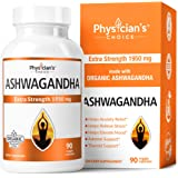 Ashwagandha 1950mg Organic Ashwagandha Root Powder Extract of Black Pepper Anxiety Relief, Thyroid Support, Cortisol…