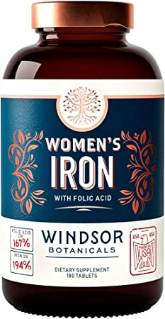 Women's Iron with Folic Acid - Menstruation and Pregnancy Blood Cell Support - Windsor Botanicals Vitamin and Mineral Formula - 35mg Ferrous Sulfate Iron - 667mcg DFE Folate, B9-180 Tablets