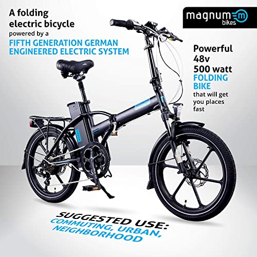 Magnum Premium High Step Folding Electric Bicycle – 48V 13A Samsung Lithium Battery 500-Watt Rear Motor Rear Rack Alloy Wheels Ebike