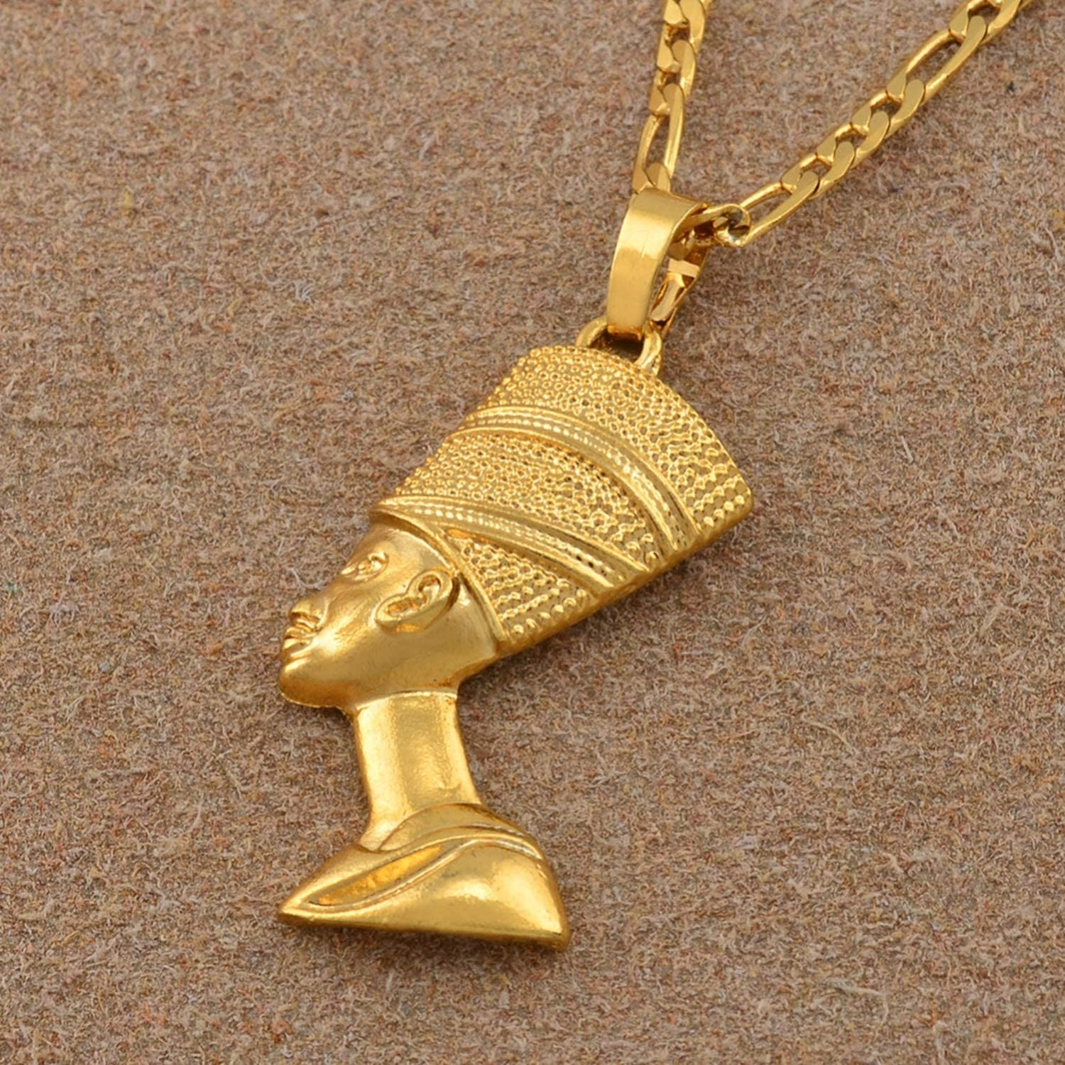 Yerings Egyptian Queen Pendant Necklaces for Women Men Jewelry Gold Color Jewellery African Gift
