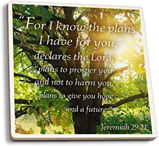 product image for Lantern Press Jeremiah 29:11 - Inspirational (Set of 4 Ceramic Coasters - Cork-Backed, Absorbent)