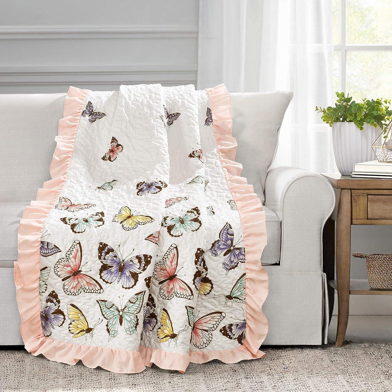 Lush Decor, Pink Flutter Butterfly Throw Blanket, 60