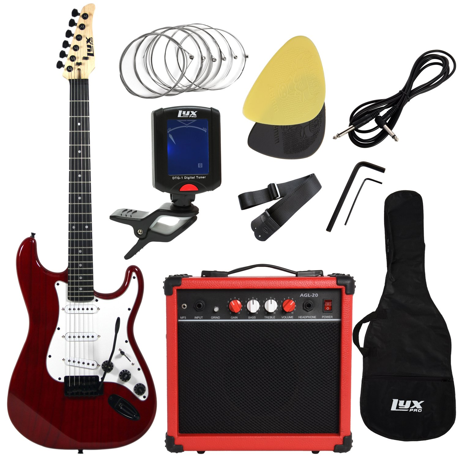 LyxPro Full Size Electric Guitar with 20w Amp, Package Includes All Accessories, Digital Tuner, Strings, Picks, Tremolo Bar, Shoulder Strap, and Case Bag Complete Beginner Starter kit Pack,Sunburst EGBK0030S