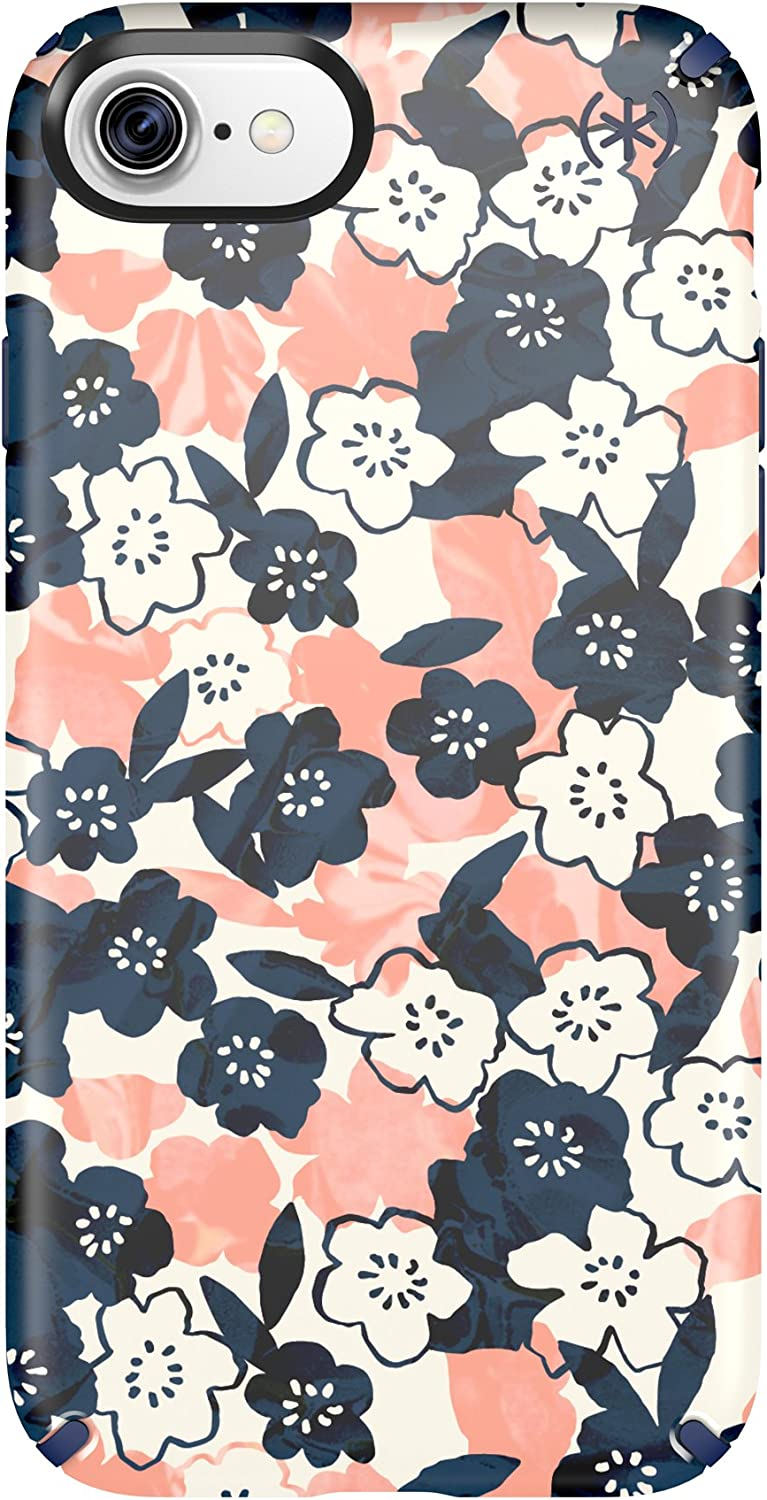 Speck 79990-5760 Presidio Inked Cell Phone Case for iPhone 7 - Marbled Floral Peach Matte/Marine Blue