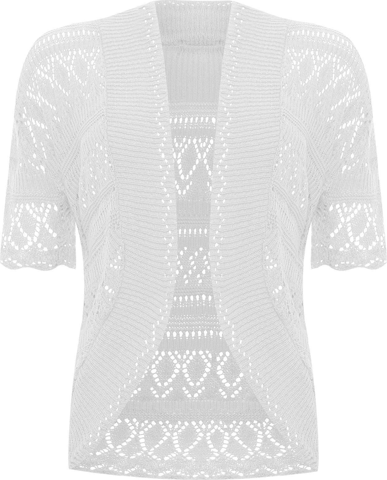WearAll Women's Plus Size Crochet Knitted Short Sleeve Cardigan - White - US 14-16 (UK 18-20)