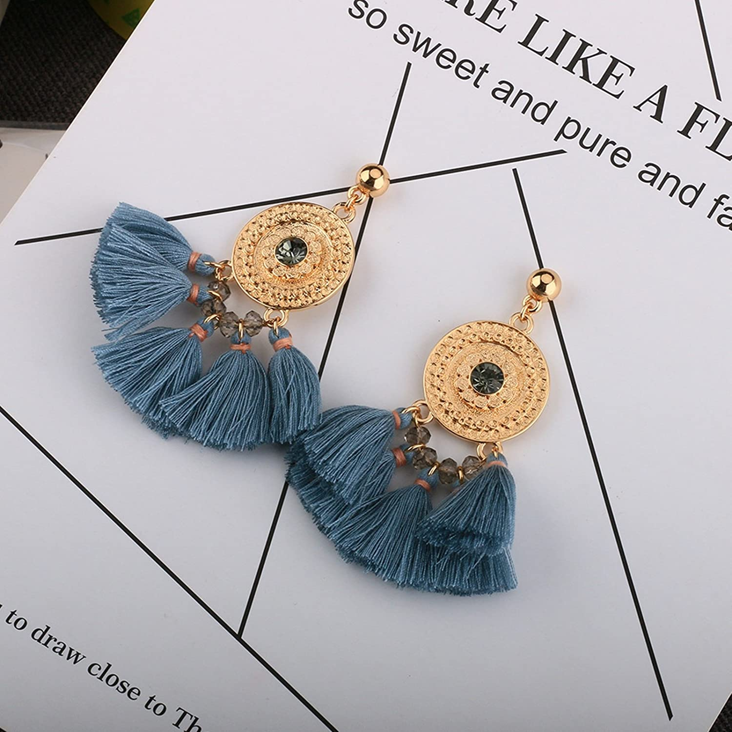 Bishilin Gold Plated Womens Earrings Round Glass Line Spike Party Anniversary Earrings Gold
