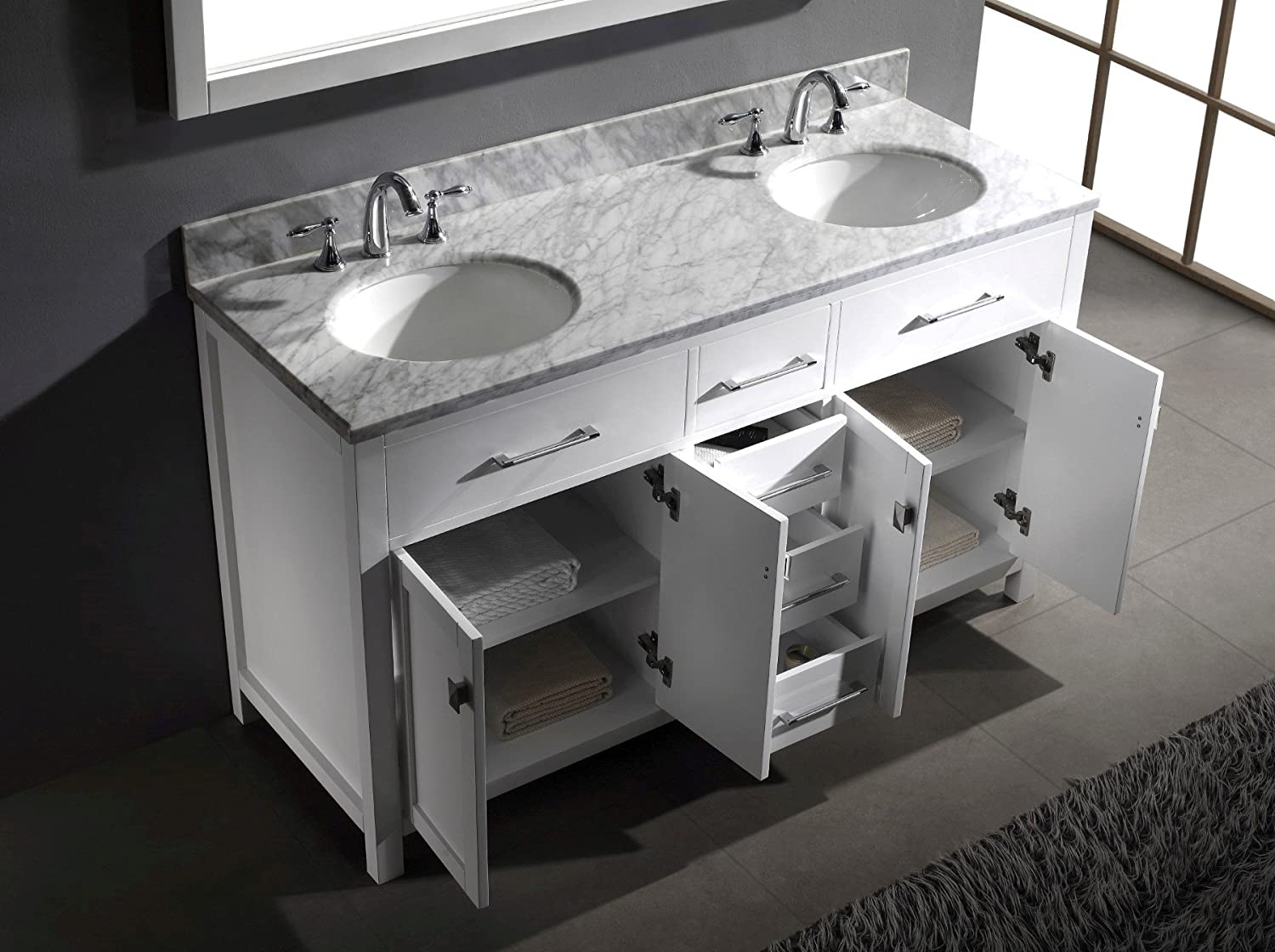 Virtu USA MD 2060 WMRO WH Caroline 60 Inch Bathroom Vanity With Double  Round Sinks In White And Italian Carrera White Marble     Amazon.com