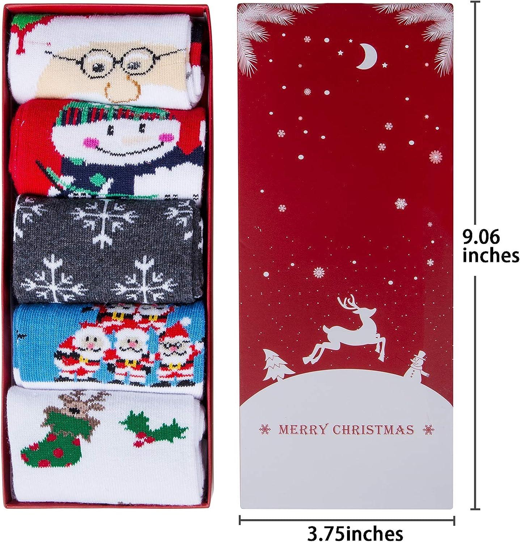 Chalier 5-8 Pairs Womens Christmas Socks Cozy Funny Xmas Holiday Socks Novelty Design for Christmas Gifts