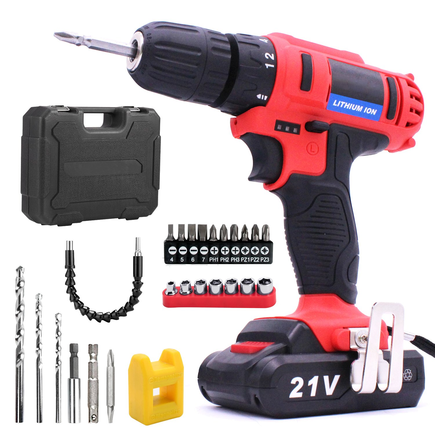 Lithium-Ion Cordless Drill/Driver Kit - VIDEN 21V Cordless Drills with Drill Bits Sets, Electric Screwdriver Powerful 2-Speed 18 Position Clutch, LED Light, Battery and Charger, Driver Accessories Cordless drill vi